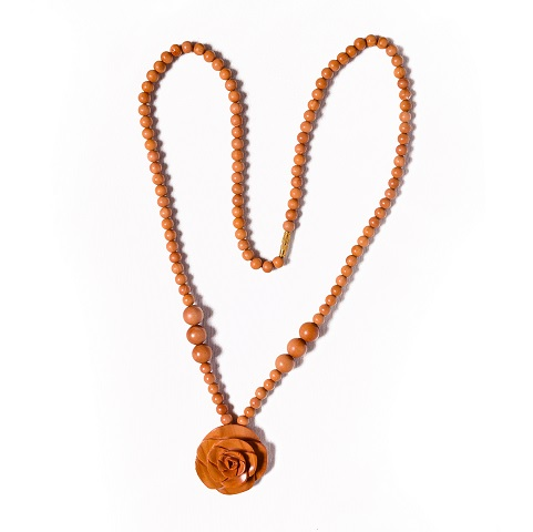 Sandalwood Mala With Flower Pendent