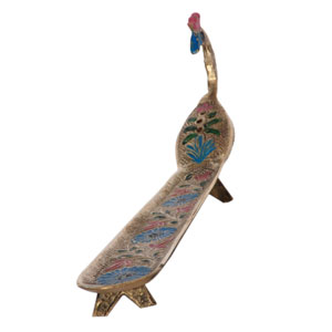 Brass Embossed Peacock Agarbathi Stand