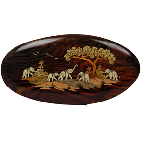 Rosewood Inlay Oval  Elephant Wall Panel