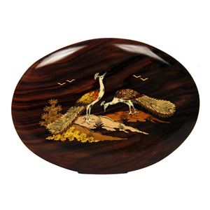 Rosewood Inlay Oval Peacock Wall Panel