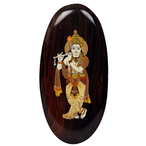 Rosewood Inlay  Oval Krishna Wall Panel