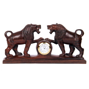 Rosewood  Carved Lions With Clock