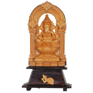 Sandal Wood Carved Ganesha With Rw Base