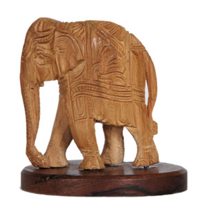 Sandalwood Carved Elephant W Rw Base