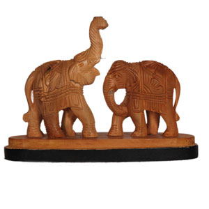 Sandalwood Fighting Elephant W Rw Base