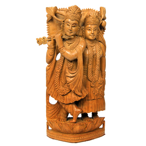 Sandalwood Special Carved Std  Radha Krishna