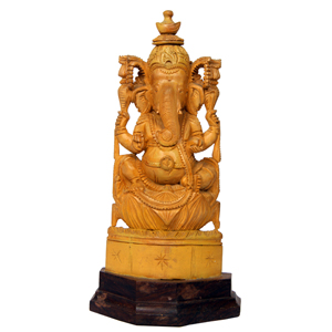 Sandalwood Special Carved Sitting Ganesha