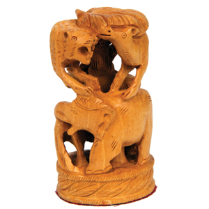 Wood Carved U C Elephant With Deer And Lion