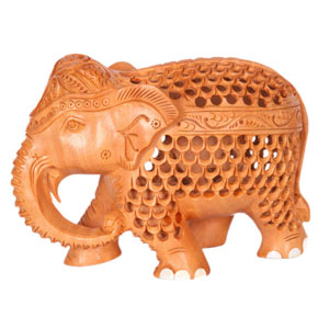 Wooden Carved U C Elephant