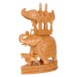 Wooden Carved Ambari T D Elephant