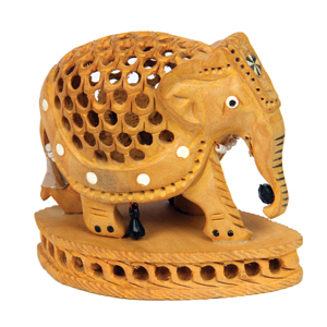 Wood Carved U C Inlay Elephant