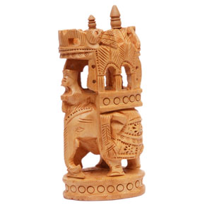 Wooden Carved T D Inlayed Elephant