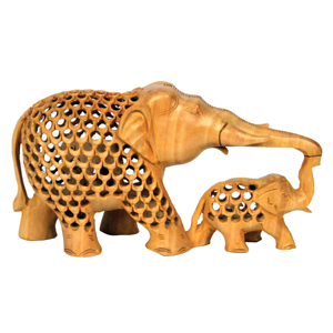 Wood Carved U C Elephant With Baby