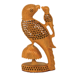 Wood Carved U C Parrot With Baby