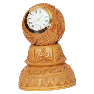 Wooden Carved Clock Stand