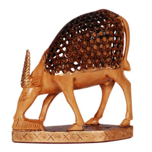Wooden Carved U C Painted Deer