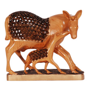 Wooden Carved U C Painted Deer With Baby
