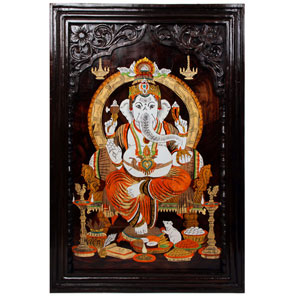 Rosewood Ganesha Wall Panel